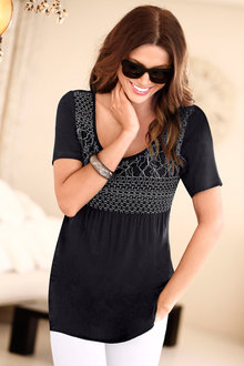 Euro Edit Embroidered Long T-Shirt