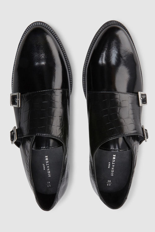 Next Signature Comfort Leather Monk Shoes
