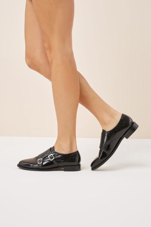 Next Signature Comfort Leather Monk Shoes