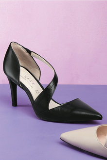 Next Leather Asymmetric Strap Court Shoes