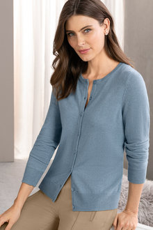 Grace Hill Cashmere Blend Button Up Cardigan - 216992