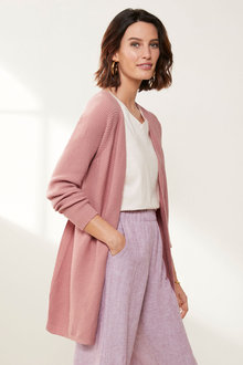 Grace Hill Cashmere Blend Ribbed Cardigan - 216995