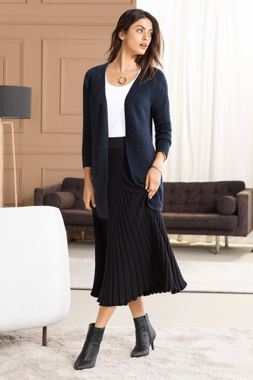 Grace Hill Cashmere Blend Ribbed Cardigan