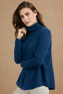 Grace Hill Cashmere Blend Ribbed Roll Neck Sweater - 216996