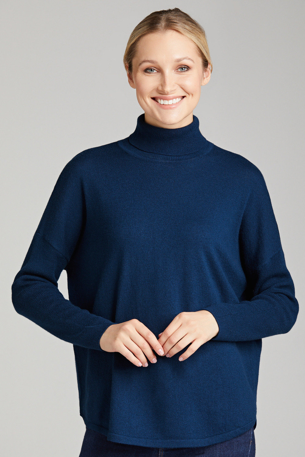 buy popular e8f78 b58f2 Grace Hill Cashmere Blend Ribbed Roll Neck Sweater Online ...