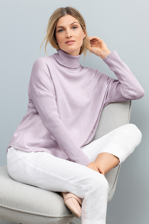 Grace Hill Cashmere Blend Ribbed Roll Neck Sweater