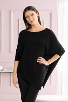 Grace Hill Cashmere Blend Asymmetric Poncho Sweater