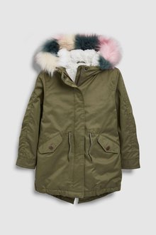 Next Parka With Colourblock Faux Fur (3-16yrs)