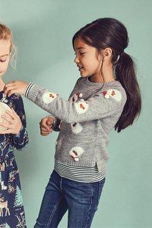 Next Christmas Santa Print Sweater (3-16yrs)