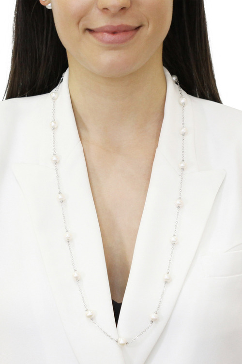 By Fairfax & Roberts Real Pearls Modern Twist Long Necklace