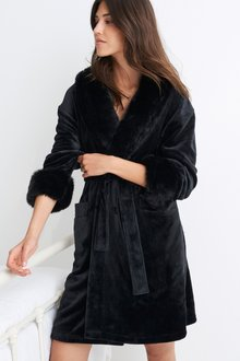 Next Faux Fur Collar Robe