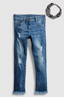 Next Skinny Jean With Fray Hem And Velvet Headband (3-16yrs)