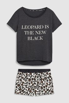 Next Leopard Slogan Short Set