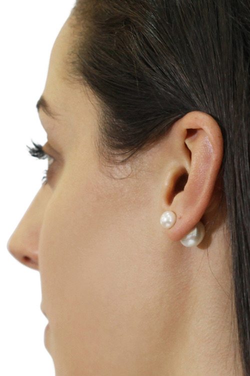 By Fairfax & Roberts Real Pearl Modern Twist Duo Stud Earrings