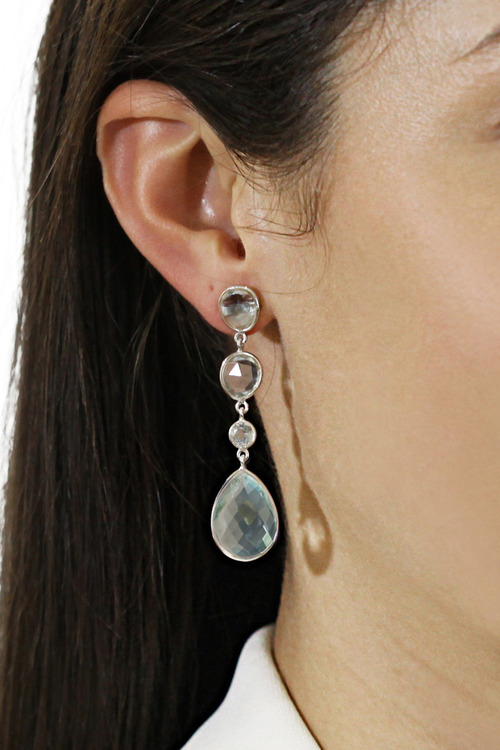 By Fairfax & Roberts Real Gemstone Four Stone Drop Earrings
