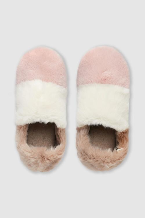 Next Faux Fur Stripe Slippers