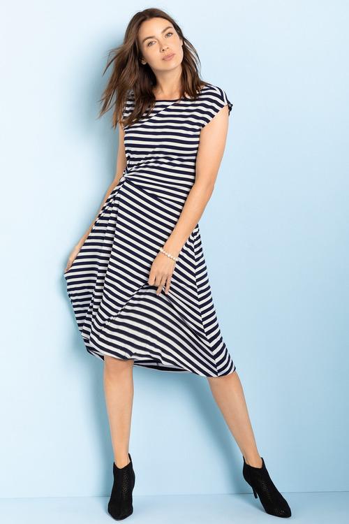 Capture Knot Front Stripe Midi Dress