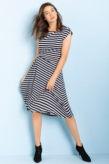 Capture Knot Front Stripe Midi Dress