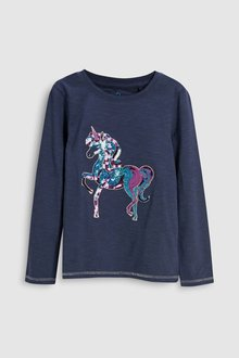 Next Sequin Unicorn Long Sleeve Top (3-16yrs)