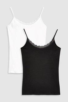 Next Cotton Lace Trim Vest Two Pack - 217573