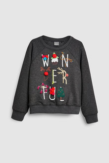 Next Christmas Pom Pom Sweat Crew (3-16yrs)