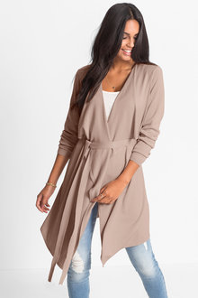 Urban Waterfall Tie Cardigan - 217701