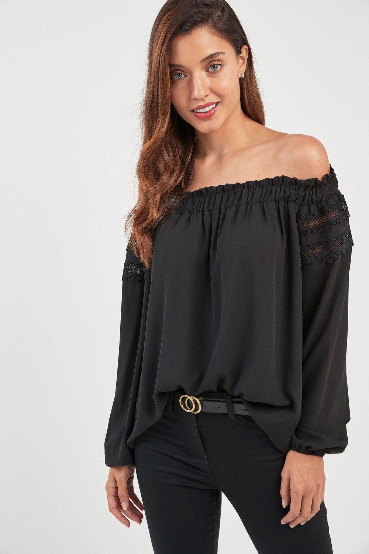 9120c277dc02d Next Lace Trim Bardot Top Online