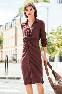 Next Check Twist Shirt Dress -Tall