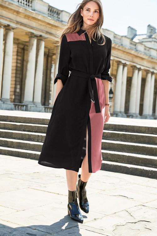 Next Colourblock Shirt Dress -Tall