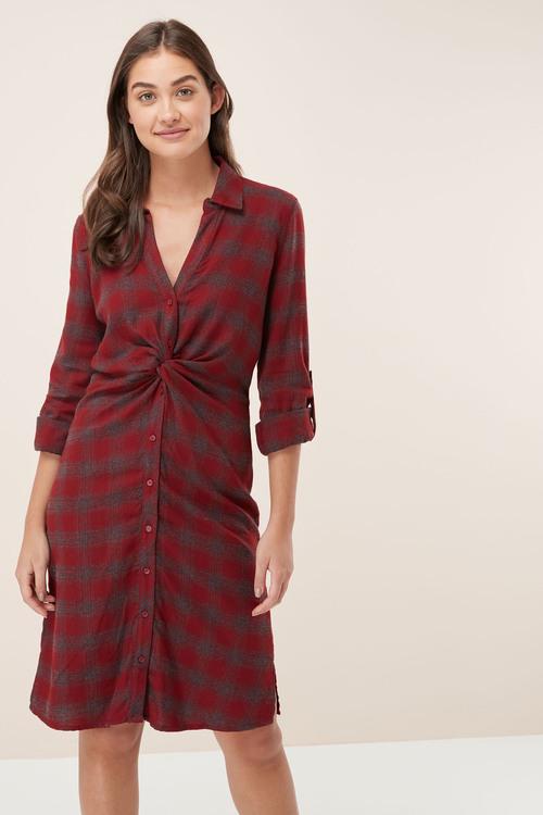 Next Check Twist Shirt Dress