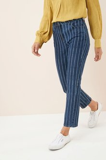 Next Striped Ankle Length Straight Jeans -Petite