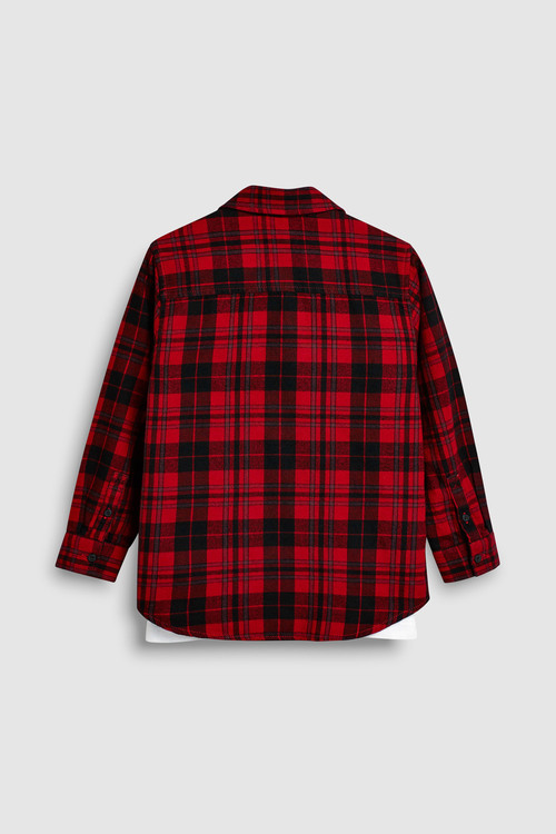 Next Long Sleeve Check Shirt And Printed T-Shirt Set (3-16yrs)