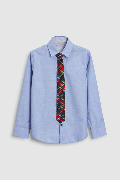Next Long Sleeve Shirt And Tartan Tie (3-16yrs)
