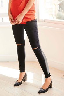Next Maternity Half Narrow Bump Band Denim Leggings