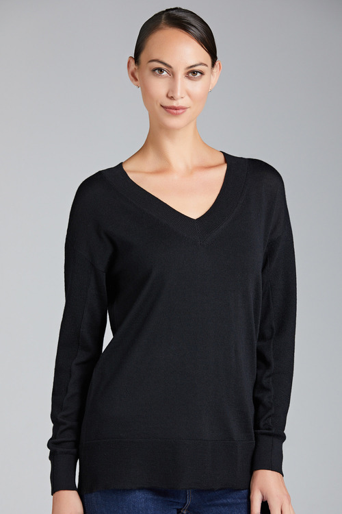 Emerge Merino V Neck Rib Sweater