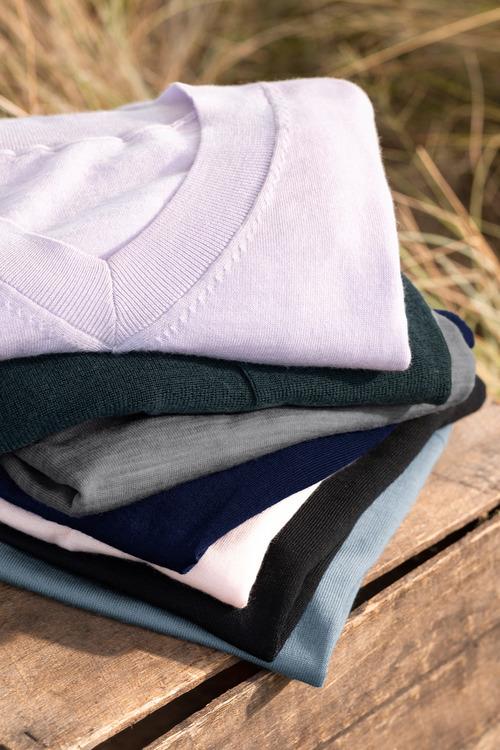Emerge Merino V Neck Rib Sweater