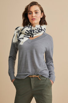 Emerge Merino V Neck Rib Sweater - 218419