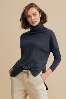 Emerge Merino Rib Cowl Neck Sweater - 218420