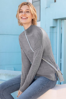 Emerge Merino High Neck Rib Sweater - 218423