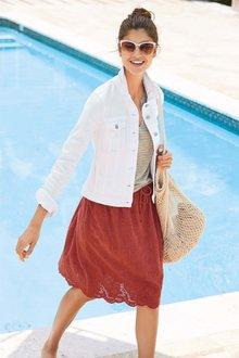 Next Broderie Detail Linen Blend Skirt