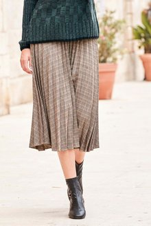 Next Check Pleated Skirt -Petite