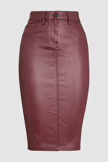 Next Coated Denim Pencil Skirt