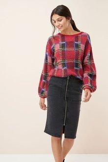 Next Zip Front Denim Skirt