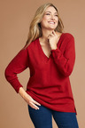 Plus Size - Sara Lambswool V Neck Sweater