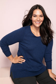 Plus Size - Sara Lambswool Round Neck Sweater - 218529