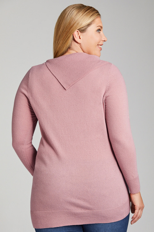 Plus Size - Sara Lambswool Roll Neck High Low Sweater