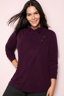 Plus Size - Sara Lambswool Button Cardigan - 218534