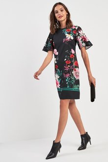 Next Floral Print Border Print Shift Dress - 218579