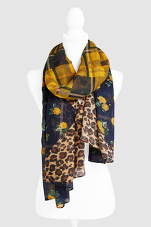 Next Check And Floral Print Scarf