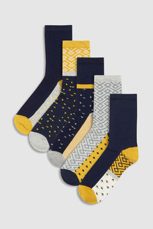 Next Pattern Ankle Socks Five Pack